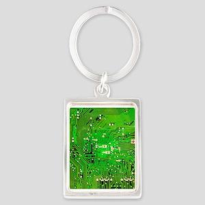 Circuit Board - Green Portrait Keychain