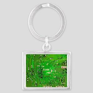 Circuit Board - Green Landscape Keychain