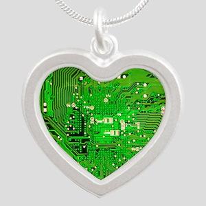 Circuit Board - Green Silver Heart Necklace