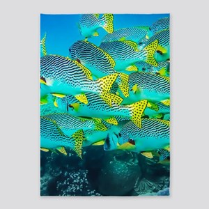 Fresh Ocean Fish 5'x7'Area Rug