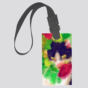 Cat and Roses Large Luggage Tag