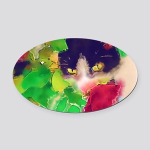 Cat and Roses Oval Car Magnet
