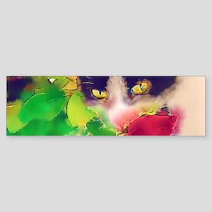 Cat and Roses Sticker (Bumper)