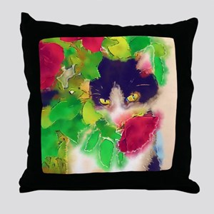 Cat and Roses Throw Pillow