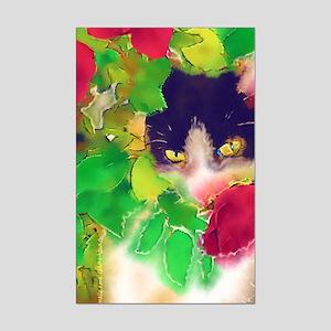Cat and Roses Mini Poster Print