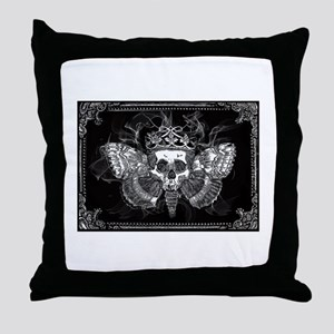 vintage mothman skull Throw Pillow