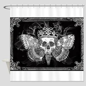 vintage mothman skull Shower Curtain