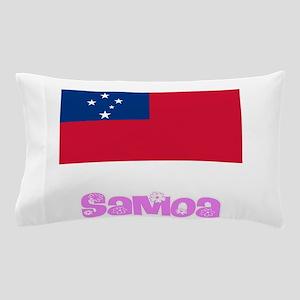 Samoa Flag Pink Flower Design Pillow Case