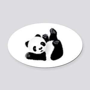 Baby Panda Oval Car Magnet