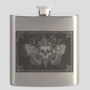 vintage mothman skull Flask