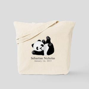 CUSTOM Baby Panda w/Name Birthdate Tote Bag