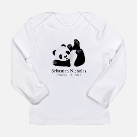 CUSTOM Baby Panda w/Name Birthdate Long Sleeve T-S