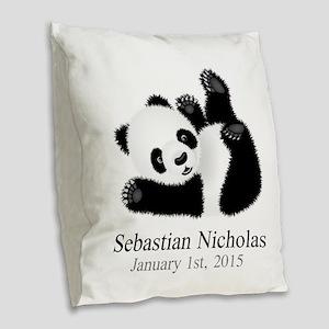 CUSTOM Baby Panda w/Name Birthdate Burlap Throw Pi