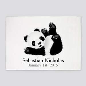 CUSTOM Baby Panda w/Name Birthdate 5'x7'Area Rug