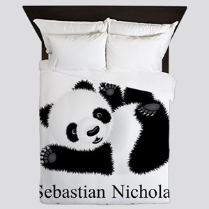 CUSTOM Baby Panda w/Name Birthdate Queen Duvet