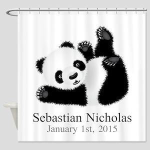 CUSTOM Baby Panda w/Name Birthdate Shower Curtain