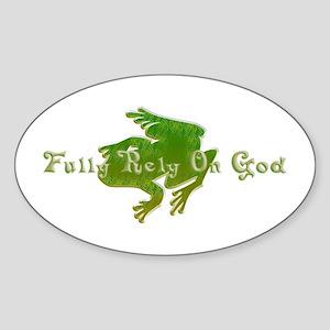Green Fancy Frog Oval Sticker