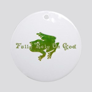 Green Fancy Frog Ornament (Round)