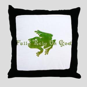 Green Fancy Frog Throw Pillow
