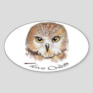 """I love Owls"" Cute Watercolor Owl Bird Art Sticker"