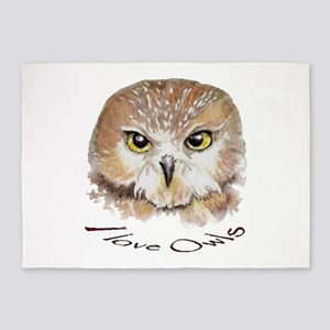 """I love Owls"" Cute Watercolor Owl Bird Art 5'x7'Ar"