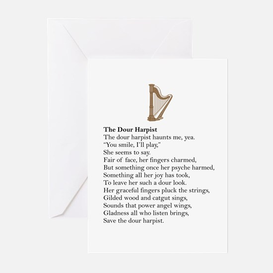 Dour Harpist Greeting Cards