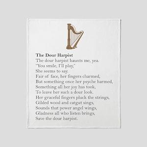 Dour Harpist Throw Blanket
