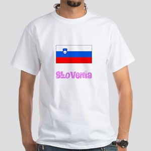Slovenia Flag Pink Flower Design T-Shirt