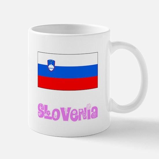 Slovenia Flag Pink Flower Design Mugs