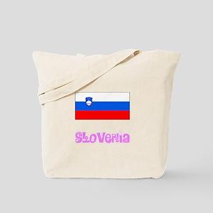 Slovenia Flag Pink Flower Design Tote Bag