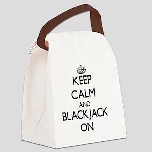 Keep Calm and Blackjack ON Canvas Lunch Bag