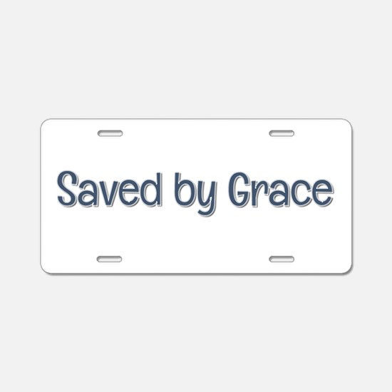 Saved by Grace Aluminum License Plate