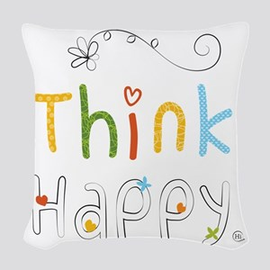 Think Happy Woven Throw Pillow