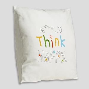 Think Happy Burlap Throw Pillow
