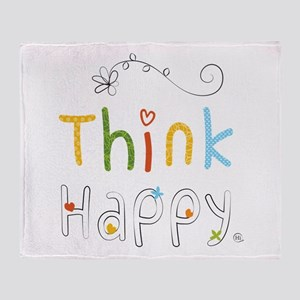 Think Happy Throw Blanket