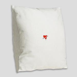 Heart of Sleep Burlap Throw Pillow