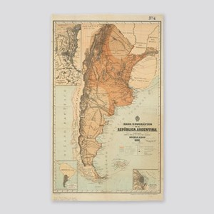 Vintage Map of Argentina (1882) Area Rug