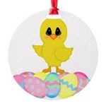 Easter Chick on Eggs Ornament