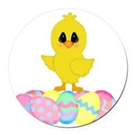 Easter Chick on Eggs Round Car Magnet