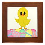 Easter Chick on Eggs Framed Tile