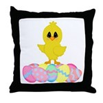 Easter Chick on Eggs Throw Pillow