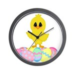 Easter Chick on Eggs Wall Clock