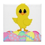 Easter Chick on Eggs Tile Coaster