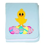 Easter Chick on Eggs baby blanket