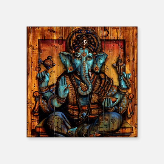 "Blue Ganesha Square Sticker 3"" x 3"""