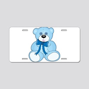 Blue Teddy Bear with Button Aluminum License Plate