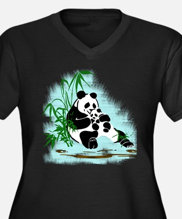Panda Momma and Baby Relaxing in Plus Size T-Shirt