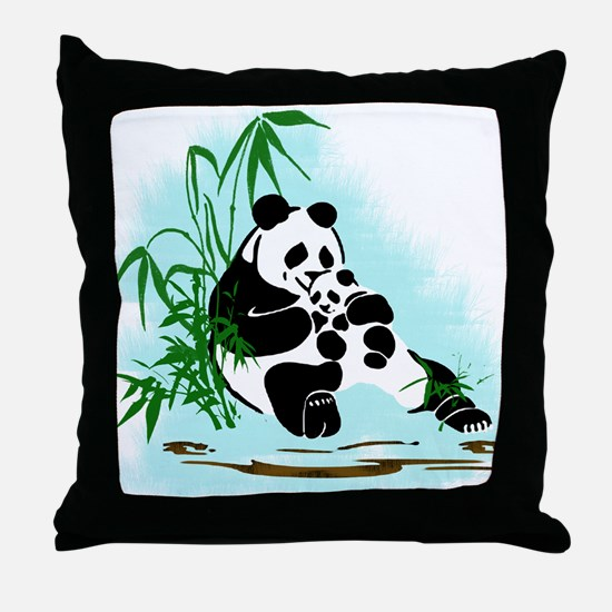 Panda Momma and Baby Relaxing in the Throw Pillow