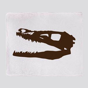 Velociraptor Skull Throw Blanket