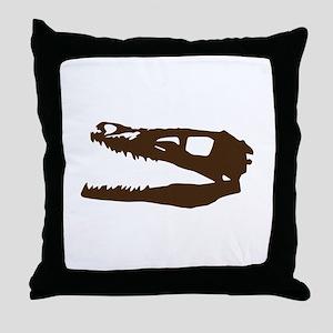 Velociraptor Skull Throw Pillow